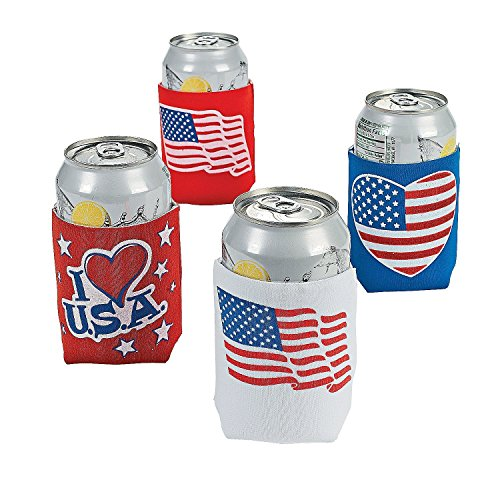 Patriotic Can Covers - 4th of July Pary Supplies (12 Pack) 4 3/4