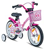 PROMETHEUS Kids bike 14 inch Girls in pink purple & white with stabilisers | Aluminum Calliper brake and backpedal brake | including security package | as from 3 years | 14' Classic Edition 2018