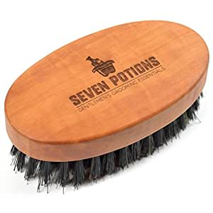 Seven Potions Beard Brush For Men With 100% First Cut Boar Bristles. Made in Pear Wood With Firm Bristles To Tame and Soften Your Facial Hair