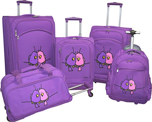 ed-heck-lightweight-5-pc-spinner-luggage-set-purple-big-love-birds