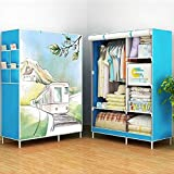 4Square Dreamworld Fancy And Portable Foldable Closet Wardrobe Cabinet ,Storage Organizer With Shelves 5.5 Feet Folding Wardrobe