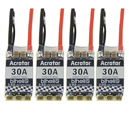 Thriverline 4pcs BLHeli-S 30A ESC 2-6s Electronic Speed Controller Support Dshot with 4pcs ESC Protective Covers for FPV Racing Drone (1, 1)