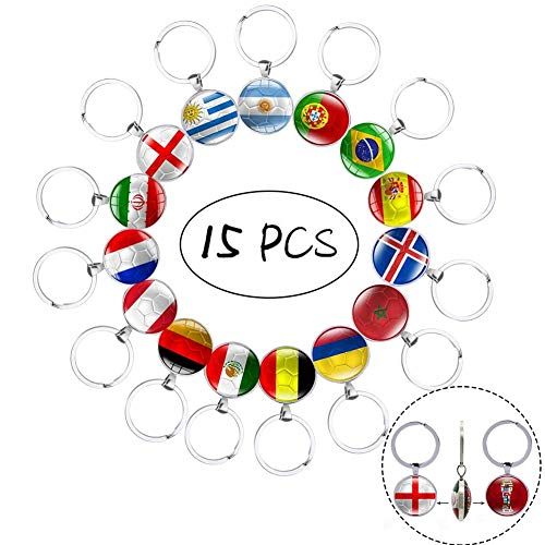 Flag Key Ring - 15 Pcs Two-Sided Metal National Flag Football Pattern Keychain Key Rings for Soccer Match 2018 FIFA World Cup Football Fans Gift