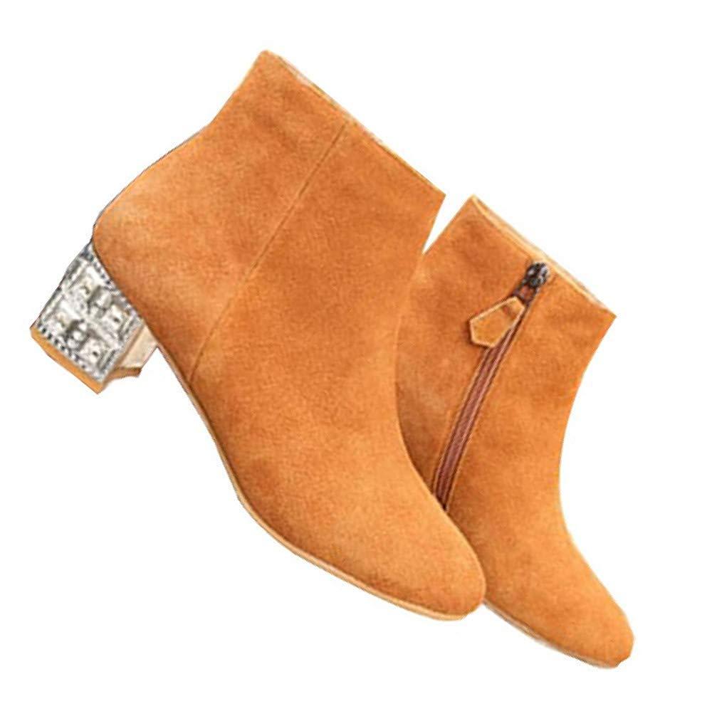 ZHRUI Weibliche Herbst Und Winter Matt Strass Dekorative Stiefel  Mit Hohen Absätzen (Farbe  Stiefel  Gelb, Größe   34EU) 9929a3