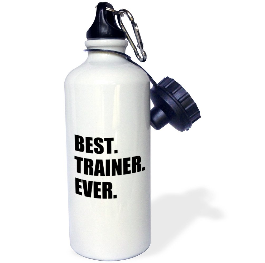 3dRose wb_185019_1 Best Trainer Ever, Fun Gift For Training Job Appreciation, Black Text Sports Water Bottle, Multicolor, 21 oz