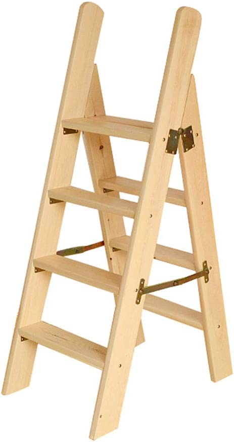 Escaleras Escalerillas Escaleras de Madera 4 peldaños Ligeros con barandilla de Mano Taburete Plegable Plegable Escalera de Paso Multiusos Escaleras Plegables- Capacidad de 300 LB (Natural): Amazon.es: Hogar