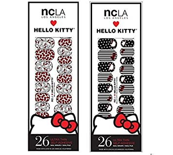 fc24a92b2 Amazon.com : NCLA Nail Wrap- Hello Kitty Bows+ Hello Kitty Dots Combo Pack (nail  file plus 26 x 2 wraps included) : Beauty