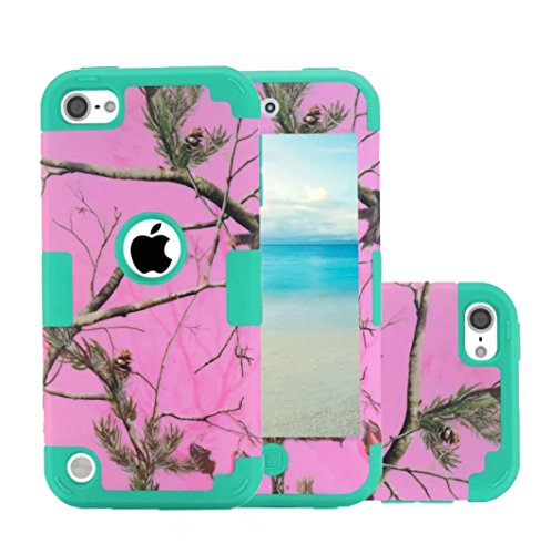 iPod Touch 5 Camo Case, Harsel Deer Design Dual Layer Hybrid Protective Case and Impact Resistant Case Drop Protecion Silicone Hard Cover for iPod Touch 5th / iPod Touch 6th Generation (Pink Teal)