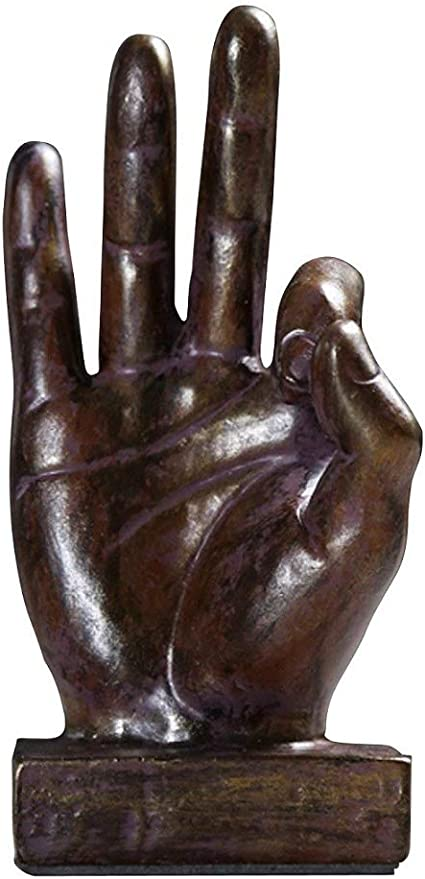 24K Gold Creative Hand Signs Abstract D\u00e9cor Statue Face /& Hand Statues and Sculptures Home Office Desk Figurine