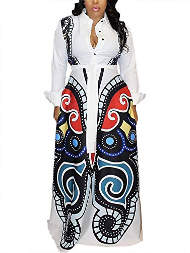 Aro Lora Women's African Print Long Sleeve Button Down Dashiki Maxi Dress Long Shirt Dress Medium White ()