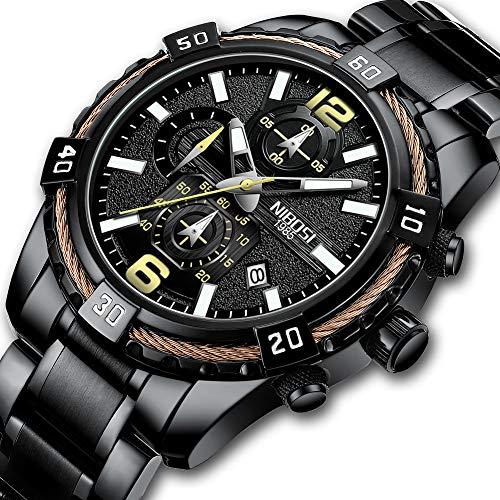 NIBOSI Men's Chronograph Quartz Watch with Stainless Steel Strap Black Wristwatches for Men Calendar Date Watch -