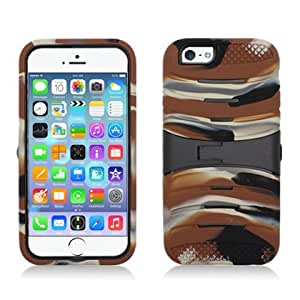 """For Apple iPhone 6 (4.7"""") - A2Z4CELL Rugged Guardian Hybrid Case Protective Cover w/Kickstand (CAMO BROWN)"""