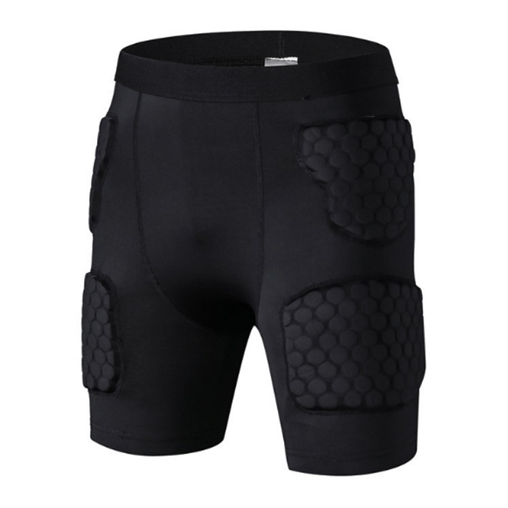 Antheron Mens Boys Padded Compression Sports Short Hip Thigh Protector Protective Pants for Football Paintball Rugby Avoid Injuries(Short,XL)