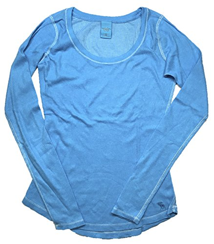 (Abercrombie and Fitch Women's Long Sleeve Classic Ribbed Shirt Aqua Large)