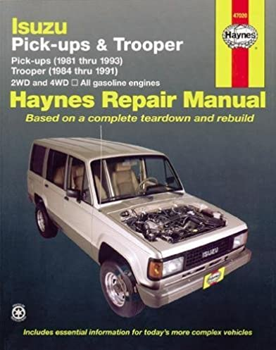 isuzu pick ups 1981 thru 1993 trooper 1984 thru 1991 2wd and rh amazon com Isuzu NPR Engine Diagram 1993 isuzu trooper repair manual