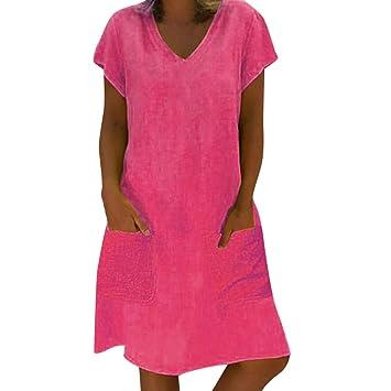 Amazon.com: Women Pockets Shift Dress - Ladies Plain Plus ...