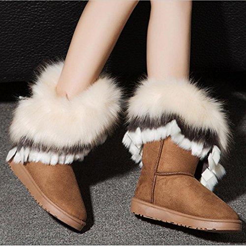 Deesee (tm) Femmes Plat Cheville Bottes De Neige Bottes De Fourrure Hiver Chaud Neige Chaussures Jaune