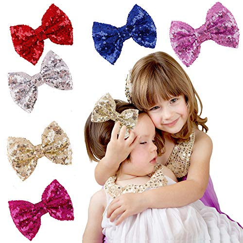 Baby Bows Hair Clips Bowknot Hairbows Party Butterfly Knot with Sequins Fashion Accessories - 6 Colorful Bows]()