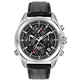 Bulova Men's Quartz Stainless Steel and Leather Casual Watch, Color:Black (Model: 96B259)