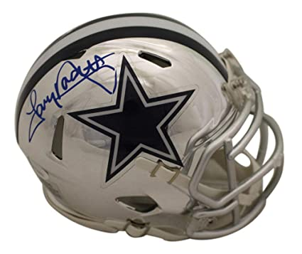 a63d87bcd8b Tony Dorsett Autographed/Signed Dallas Cowboys Chrome Mini Helmet JSA