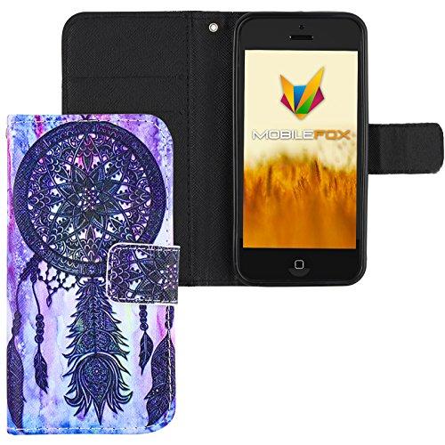 Mobilefox Traumfänger Flip Case Handytasche Apple iPhone 5/S/SE