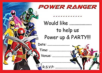 power rangers childrens birthday party invites invitations x 10 pack