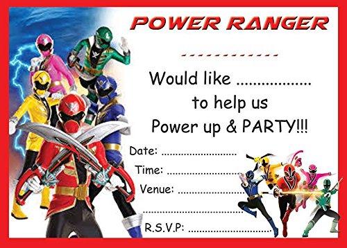 Power Rangers Childrens Birthday Party Invites Invitations X 10 Pack