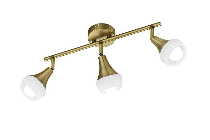 Trio Leuchten Lámpara de techo E14, latón envejecido, 9 x 41 x 19.5 cm