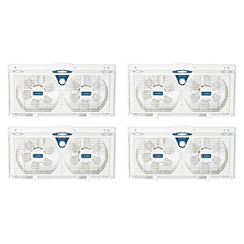 Lasko Window Twin (Lasko 8 Inch Portable Electrically Reversible Thermostat Twin Window Fan, 4 Pack)