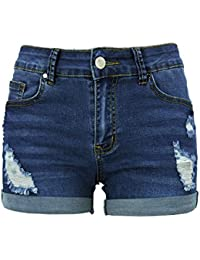 Womens Ripped Denim Shorts Mid Waist Plus Size Cutoff Distressed