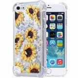 Flocute iPod Touch 5 6 7 Case, iPod Touch 5 6 7 Glitter Floral Case Flower Bling Sparkle Floating Liquid Soft TPU Cushion Luxury Fashion Girls Women Cute Case for iPod Touch 5th 6th 7th (Sunflower)