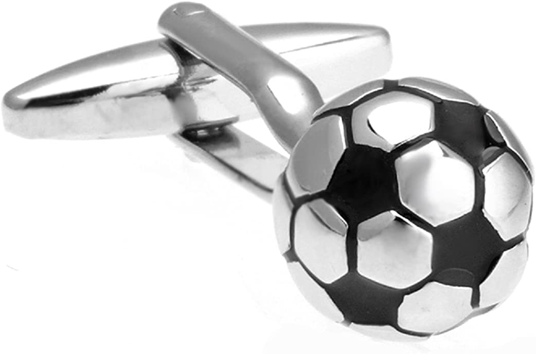 MRCUFF Presentation Gift Box 3D Soccer Ball Pair Cufflinks & Polishing Cloth