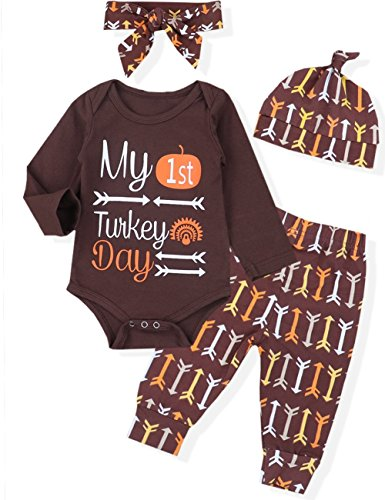 4pcs Baby Girl Boy Newborn My First Thanksgiving Outfits Set Costumes Bodysuit Letters Print Arrow Pants Hat with Headband Clothes(3-6 M)