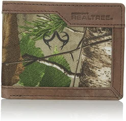 RealTree Men's Leather Canvas Billfold Wallet