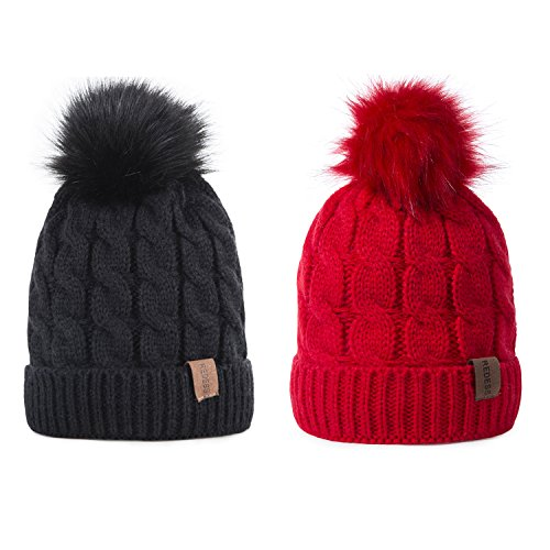 Kids Winter Warm Fleece Lined Hat, Baby Toddler Children's Beanie Pom Pom Knit Cap for Girls and Boys by REDESS (Black & Red) Warm Fleece Hat