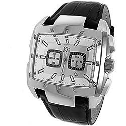 Men's New Techno Com Kc 46mm Wei Genuine 12 Diamonds Stainless Steel Watch