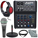 Alesis MultiMix 4 USB FX 4-Channel Mixer & USB Audio Interface Deluxe Bundle w/ Microphone + Headphones + Cables + Mic Stand + Fibertique Cloth
