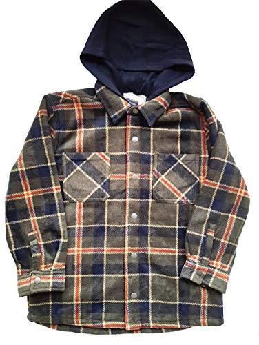 Freedom Foundry Youth Super Plush Flannel Shirt with Hood (Green, Medium)