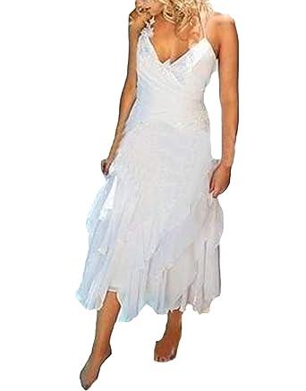 Veilace Women S Short Bohemian Beach Wedding Dress Halter Tea Length