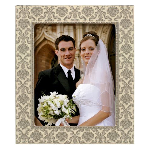 Grasslands Road Silver Damask Photo Frame, 8 by 10-Inch, Creme, Ceramic, Gift Boxed