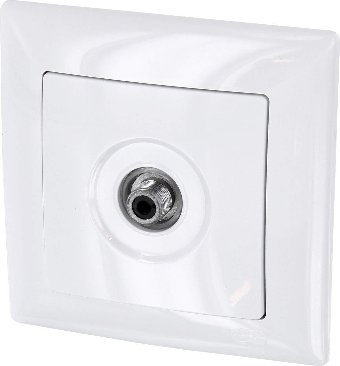 Enchufe para antena saté lite de 1 orificio (conector F), multiusos, marco + montaje enrasado + protector (serie G1 de color blanco) multiusos marco + montaje enrasado + protector (serie G1de color blanco) HAVA