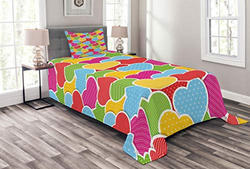Lunarable Valentines Day Bedspread Set Twin Size, Rainbow Colored Heart Shape Pool Loveable Romantic Eternal Artwork Image, Decorative Quilted 2 Piece Coverlet Set Pillow Sham, Multicolor
