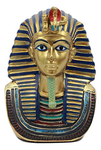 Ebros Small Golden Cobra And Vulture Nemes Mask of Pharaoh Statue Egyptian Dynasty King Tut Bust Figurine - Mask King Tut