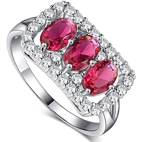 PAKULA Silver Plated Women Simulated Pink Tourmaline 3 Stone CZ Halo Ring