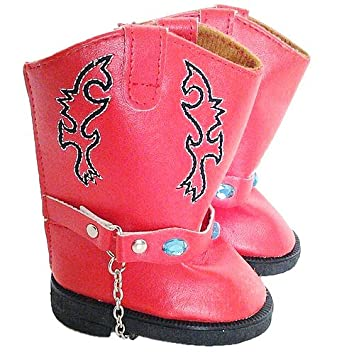 Amazon.com: RED COWGIRL BOOTS WITH GEMS FOR AMERICAN GIRL DOLLS ...