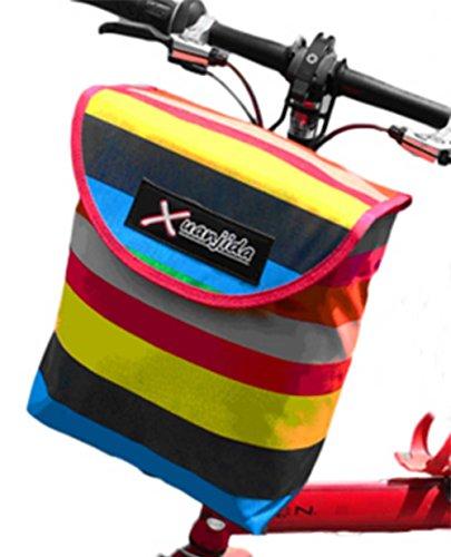 Gestreifte Lidded Fahrradkorb vorne Korb Fahrradkorb Tasche
