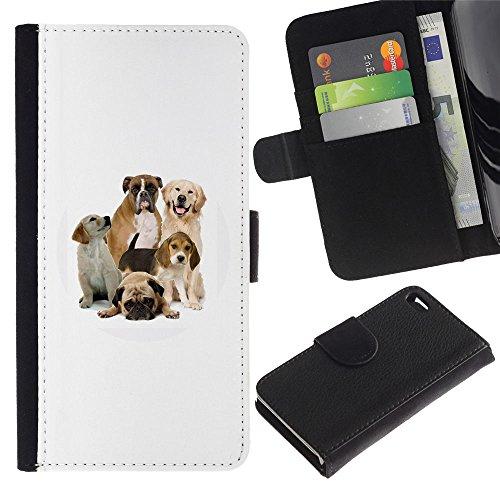 Be Good Phone Accessory // Caso del tirón Billetera de Cuero Titular de la tarjeta Carcasa Funda de Protección para Apple Iphone 4 / 4S // Pug Beagle Labrador Boxer Dogs Breed