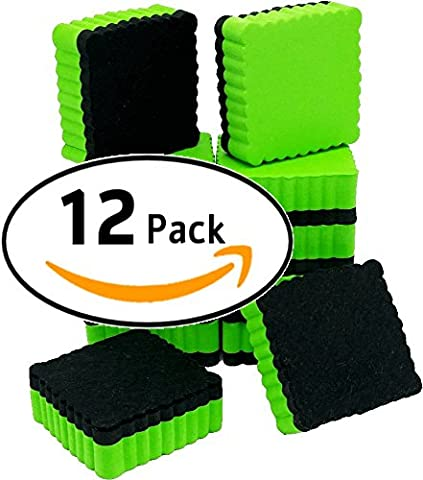 ItemMax Whiteboard Erasers with Ez-Erase Felt, Set of 12 Dry Erase Eraser for Home, Office and School Classroom - Dry Erase Classroom