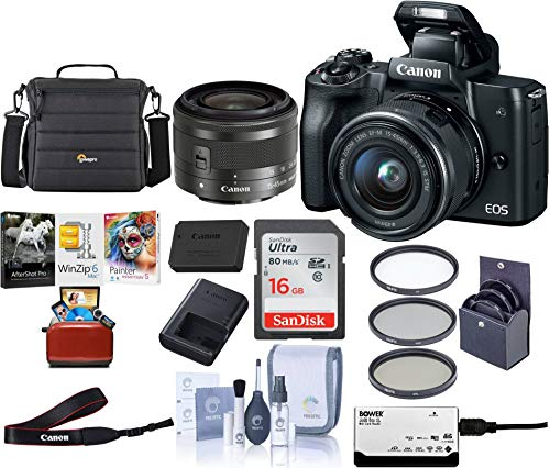 Canon EOS M50 Mirrorless Camera with EF-M 15-45mm f/3.5-6.3 is STM Lens, Black – Bundle with 16GB SDHC Card, Camera Case, 49mm Filter Kit, Cleaning Kit, Card Reader, Mac Software Package