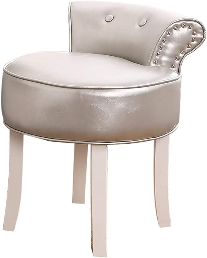 Comfortable Chair European Cushioned Vanity Stool,Makeup Seat with Nailhead Trim, Lounge Stool with Solid Wood Legs, Baroque Piano Chair for Dressing Room/Living Room/Bedroom/Restaurant Leisure Chai